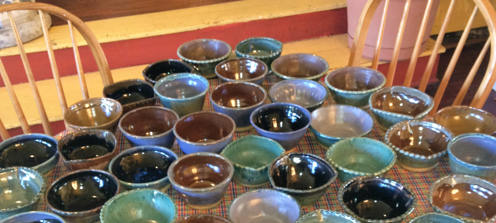 Bowls that take up entire table made at Artcroft